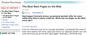 Articolo di comparazione di iGoogle, MyYahoo, Netvibes e Pageflakes