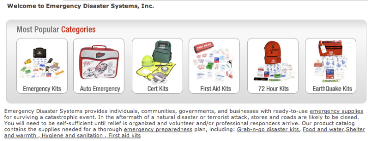 EDS > Emergency Kits > Categories