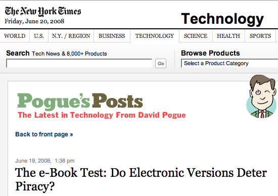 New York Times > David Pogue >The e-book test