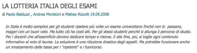 La voce.info > Lotteria Italia degli esami > abstract