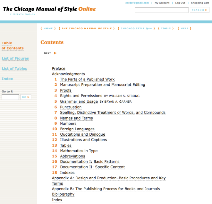 The Chicago Manual of Style > Table of contents