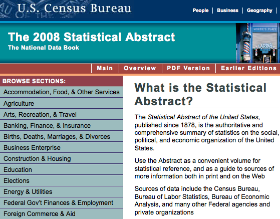 US Census Bureau > Statistical Abstract of the US 2008