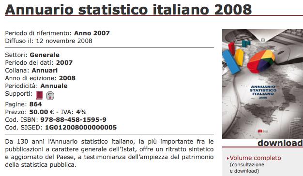 Istat > Annuario Statistico Italiano 2008