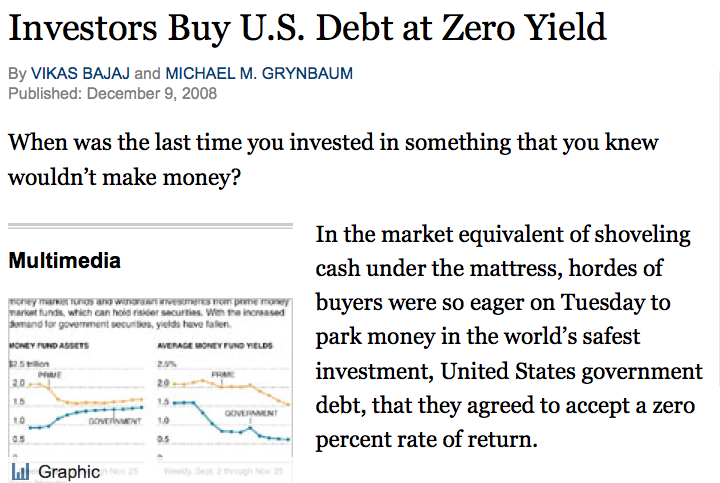 New York Times > 10.12.2008 > Investors Buy U.S. Debt at Zero Yield