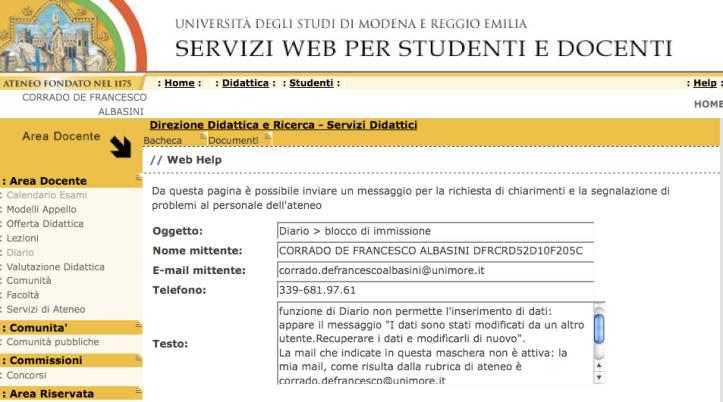 Esse3 > Diario > Help!