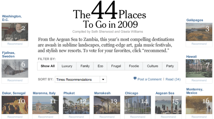 New York Times > 44 places to go in 2009 > sommario interattivo