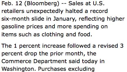 Bloomberg > 12.02.2009 > vendite al dettaglio negli USA