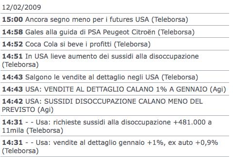 Repubblica.it > 12.02.2009 > Vendite al dettaglio negli USA