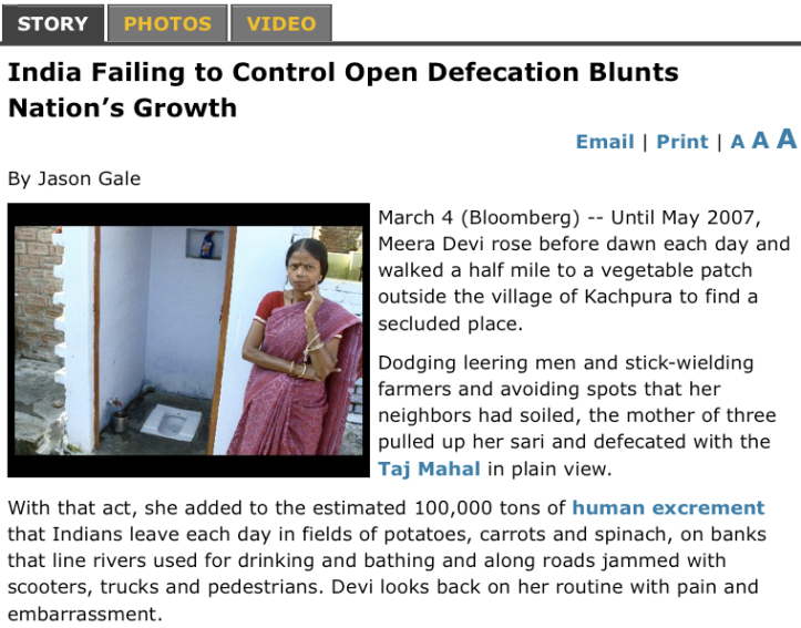 Bloomberg > Open Defecation in India