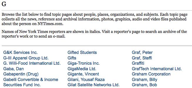 Times Topics > G > ritaglio