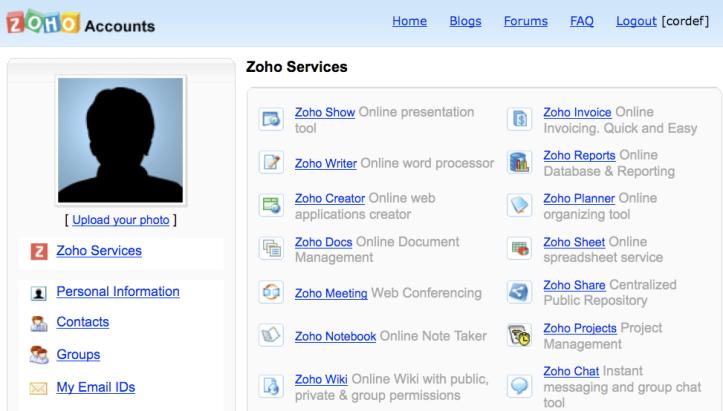 Zoho > Services