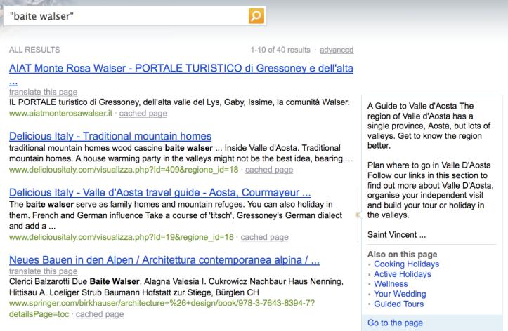 "BING > ricerca web > risultati ""baite walser"""