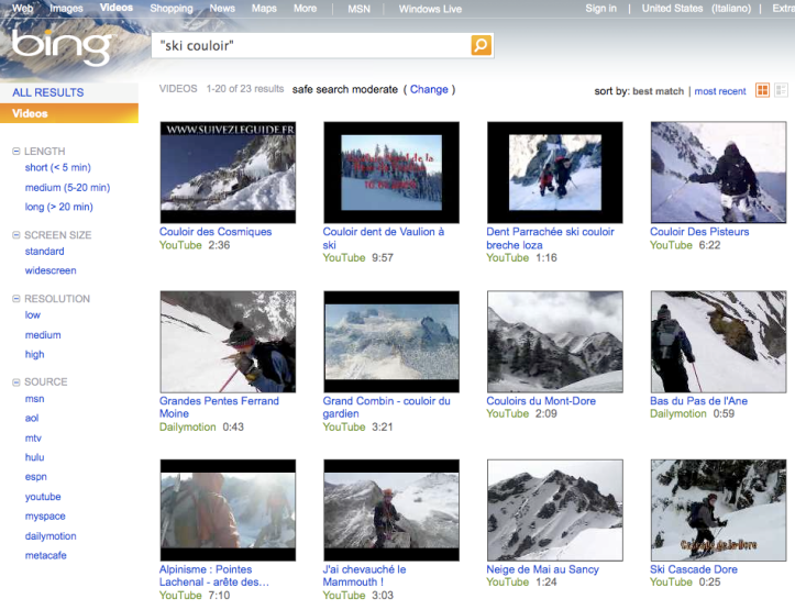 "BING > Risultati di ricerca video > ""ski couloir"""