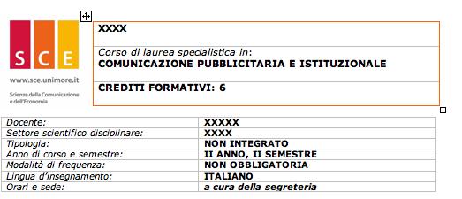 UNIMORE > SCE > Scheda corso