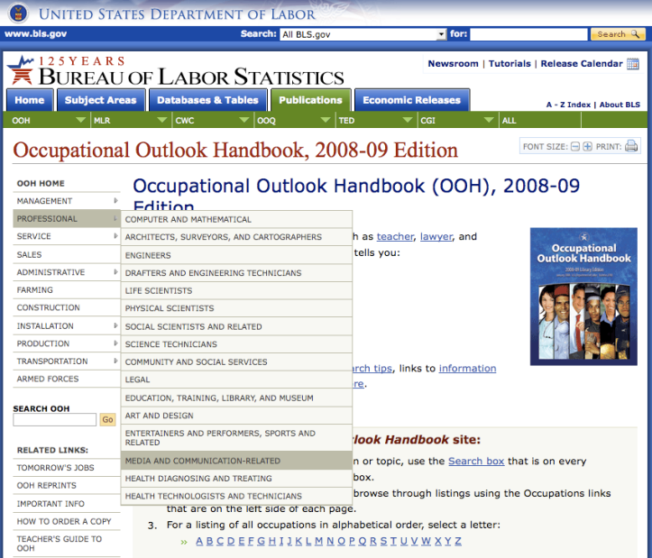 DOL > Occupational Outlook Handbook