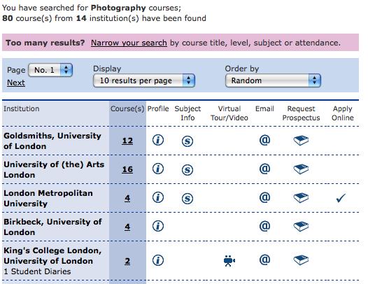 EDUCATIONUK > Search >Photography London