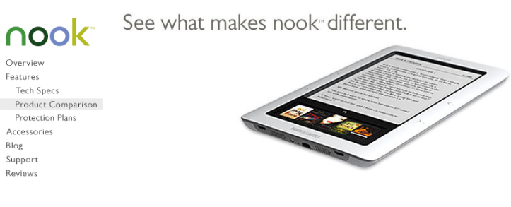 BN > Nook & Kindle2 comparison