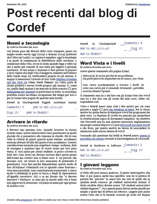 ZINEPAL > Cordef blog in forma di zine