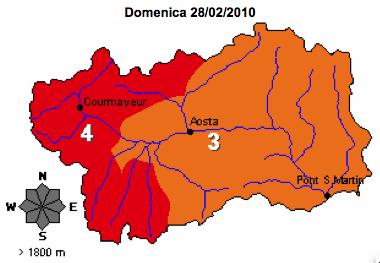 VDA > Bollettino Valanghe del 28.02.2010 > Mappa