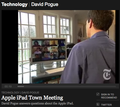 NYT > Apple iPad Town Meeting (David Pogue)
