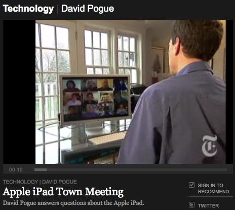 NYT > Apple iPad Town Meeting (David Pogue)
