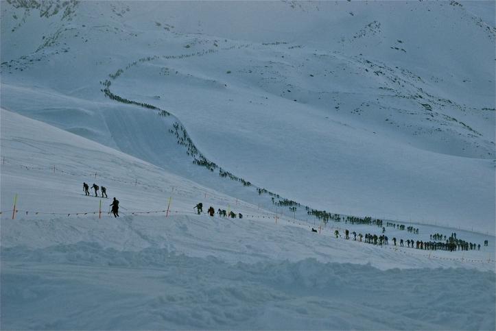 Mezzalama 2011: la file dei concorrenti in salita sulla pista del Ventina (foto di Bianca Dionisi)