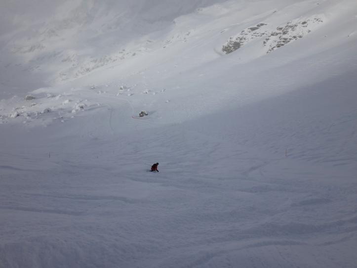 Bella neve sulla pista nera del Pancheron...
