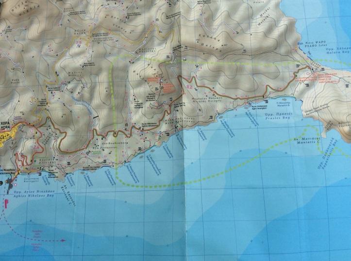 La costa sud est di Anafi (Carta Terrain)