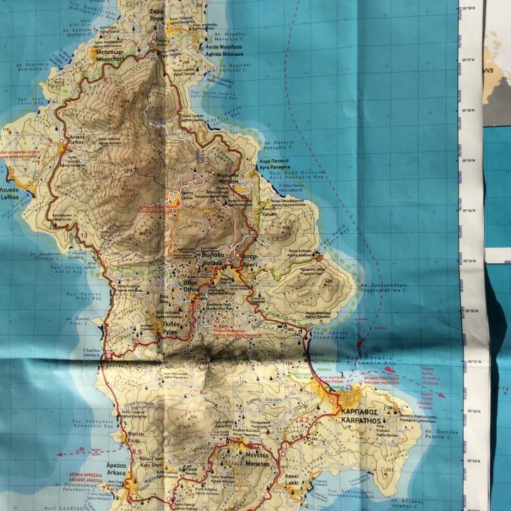 La costa sud est di Karpathos (carta Terrain 1:60.000)
