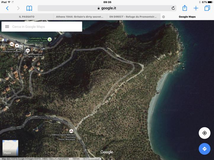 La spiaggia di Agios Nikolaos da Google Maps