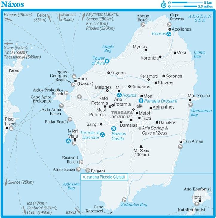 Cartina di Naxos dalla guida Isole della Grecia di Lonely Planet