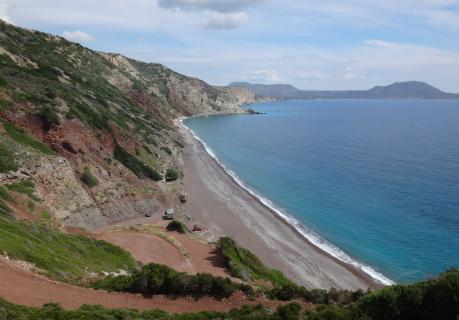 La spiaggia di Fyri Ammos (sud-est)